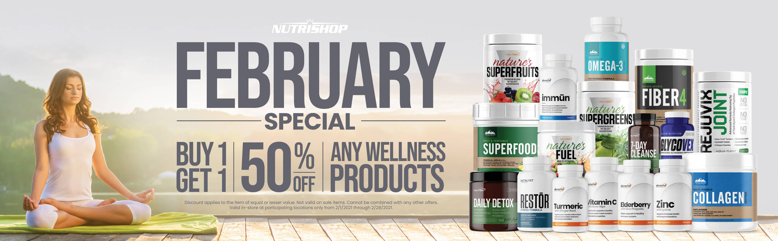 February special buy one get one 50% off any wellness products